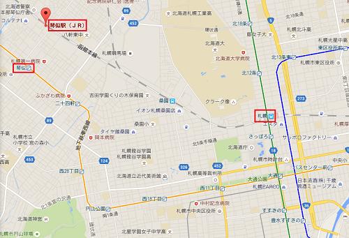 札幌から琴似までの距離イメージ
