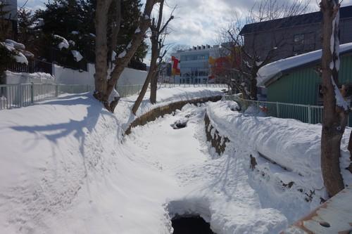雪で凍った川