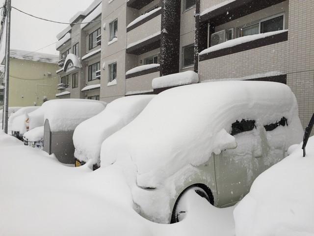 雪まみれの車