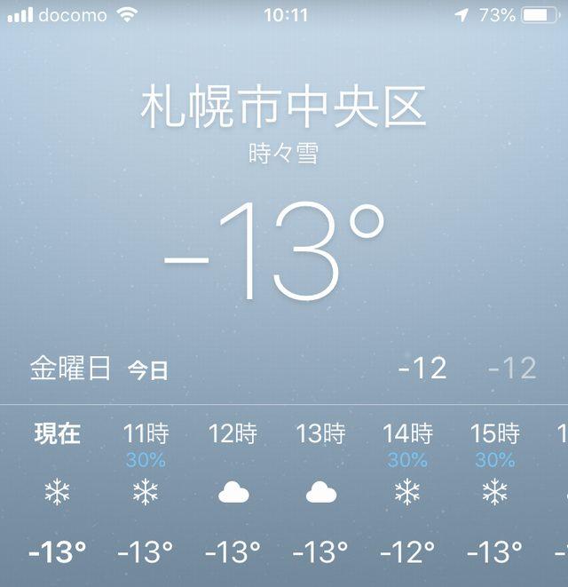 札幌の気温マイナス13度